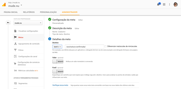 Como definir metas no Google Analytics