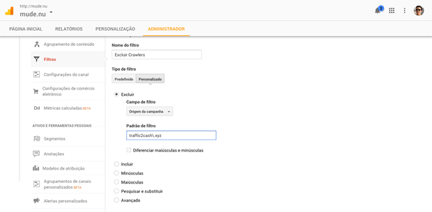 Filtro de exclusão de crawler no Google Analytics