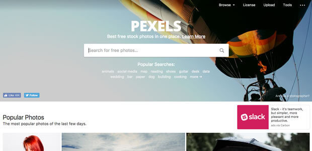 Pexels - Site grátis