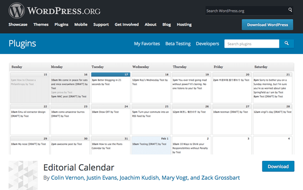 Plugin Editorial Calendar para WordPress
